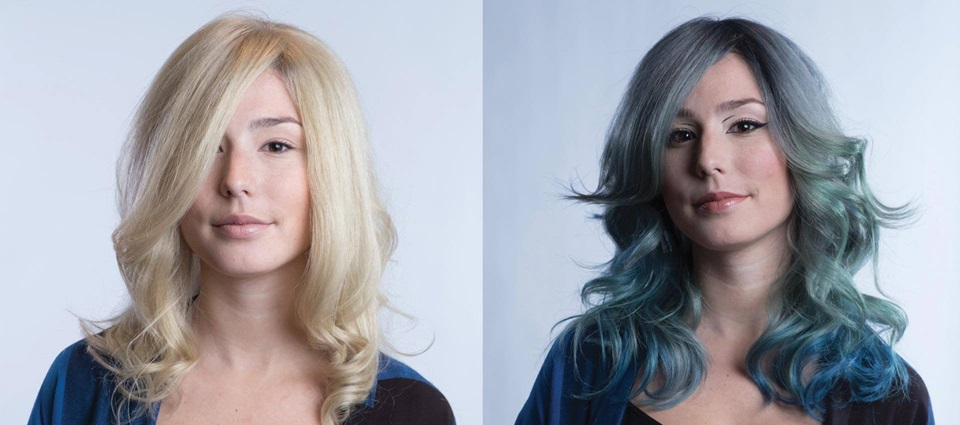 blue hair transformation
