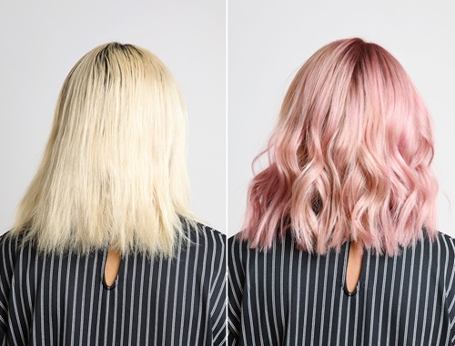 Before and After MAtrix Bond Ultimate Pink hair