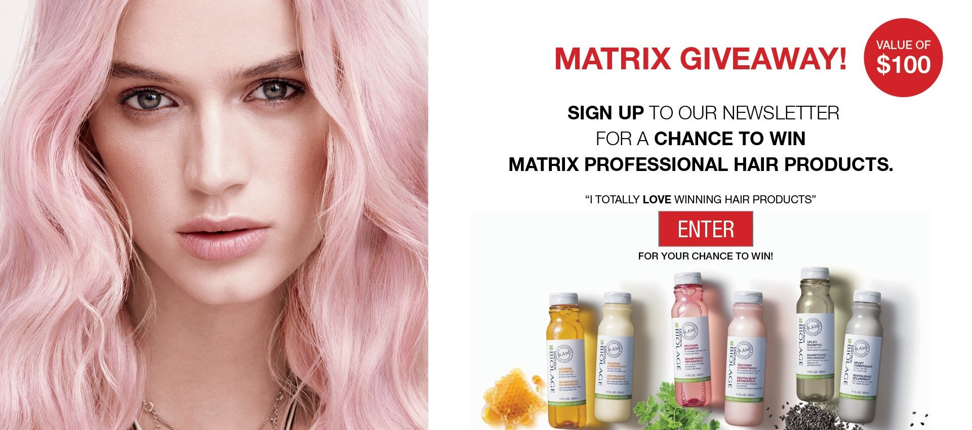 Matrix giveaway free hair products